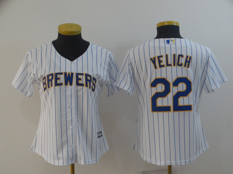 Brewers 22 Christian Yelich White Women Cool Base Jersey