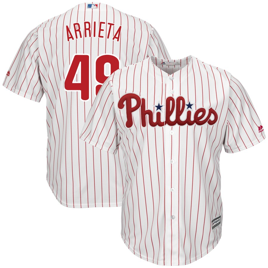 Phillies 49 Jake Arrieta White Cool Base Jersey