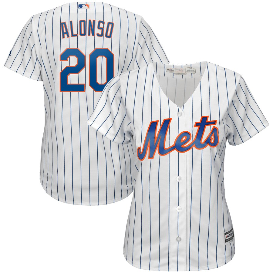Mets 20 Pete Alonso White Women Cool Base Jersey
