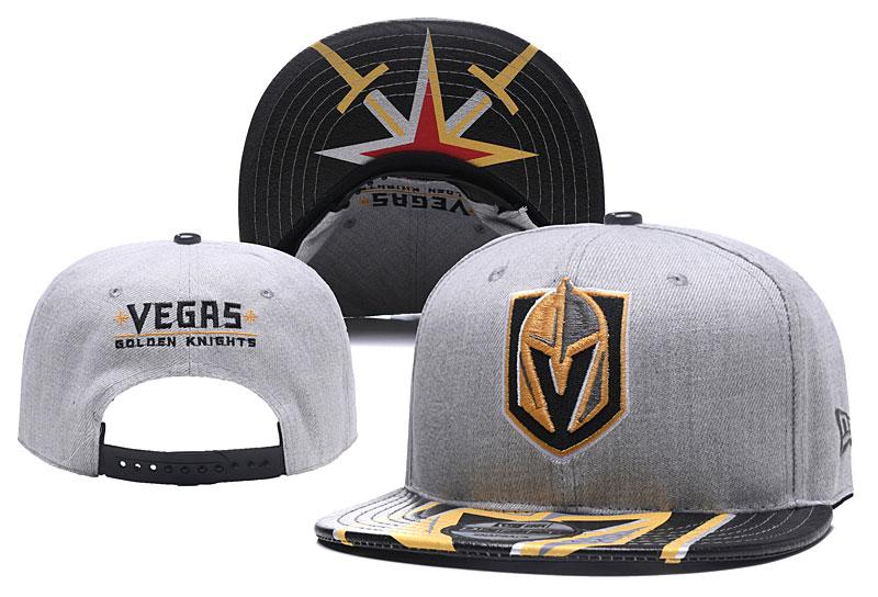 Vegas Golden Knights Fresh Logo Black Gray Adjustable Hat YD