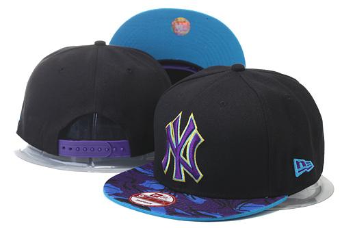 Yankees Team Logo Black Purple Adjustable Hat GS