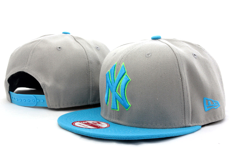 Yankees Team Logo Gray Blue Adjustable Hat GS