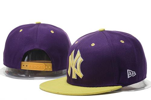 Yankees Team Logo Purple Yellow Adjustable Hat GS