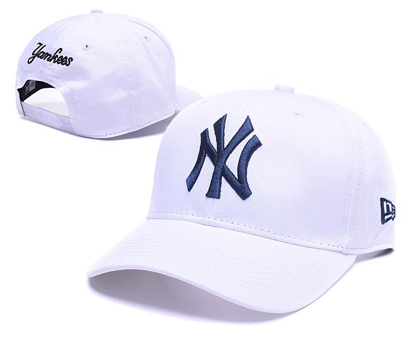 Yankees Team Logo White Adjustable Hat GS