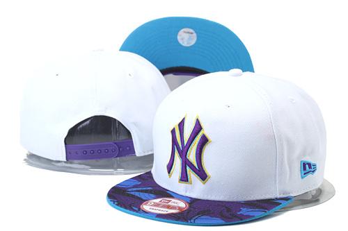 Yankees Team Logo White Purple Adjustable Hat GS