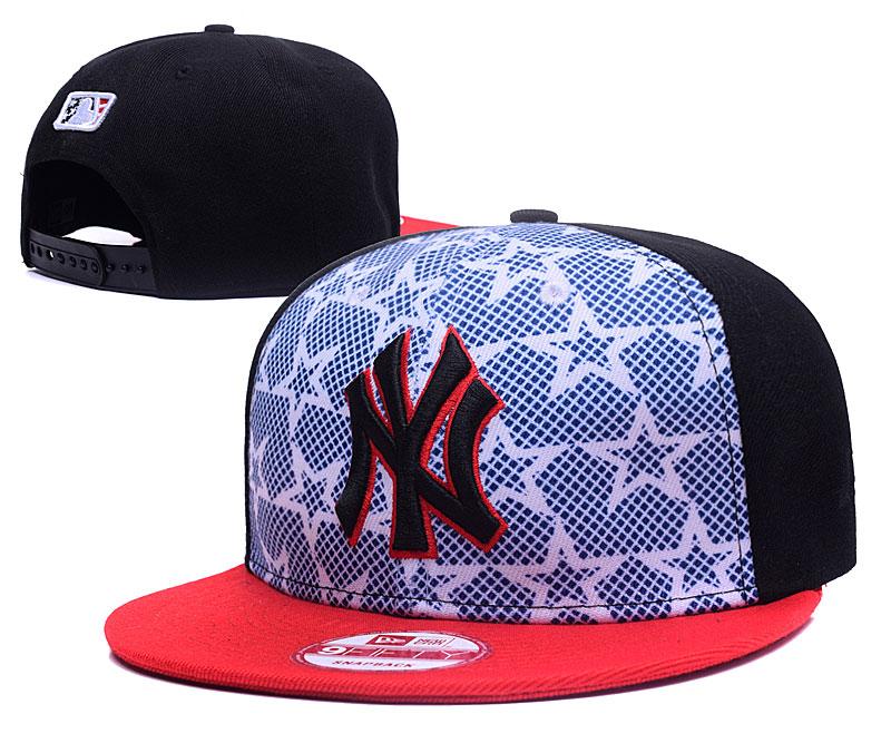 Yankees Team Logo White Star Black Adjustable Hat GS