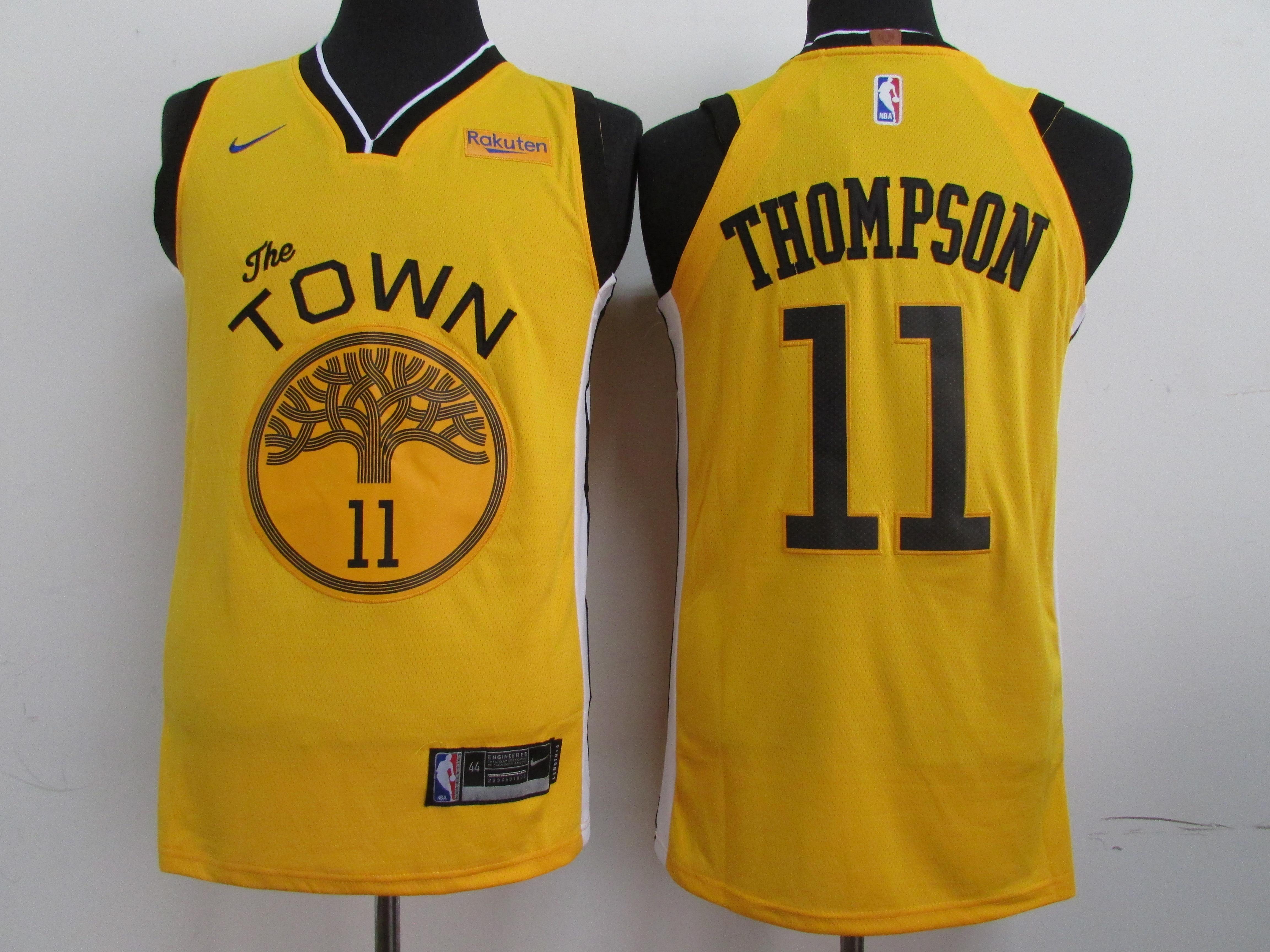 Warriors 11 Klay Thompson Yellow 2019 Earned Edition Nike Swingman Jersey