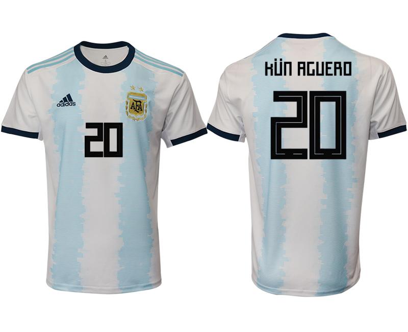 2019-20 Argentina 20 HUN AGUERO Home Thailand Soccer Jersey