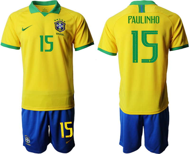 2019-20 Brazil 15 PAULINHO Home Soccer Jersey