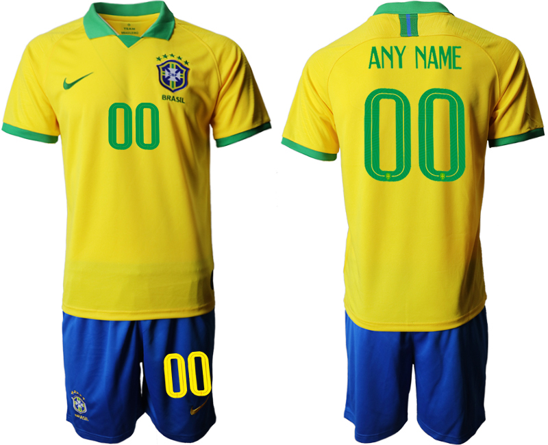 2019-20 Brazil Customized Home Soccer Jersey