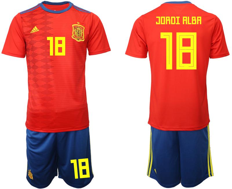 2019-20 Spain 18 JORDI ALBA Home Soccer Jersey