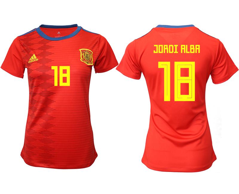 2019-20 Spain 18 JORDI ALBA Home Women Soccer Jersey