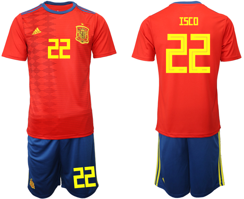 2019-20 Spain 22 ISCO Home Soccer Jersey
