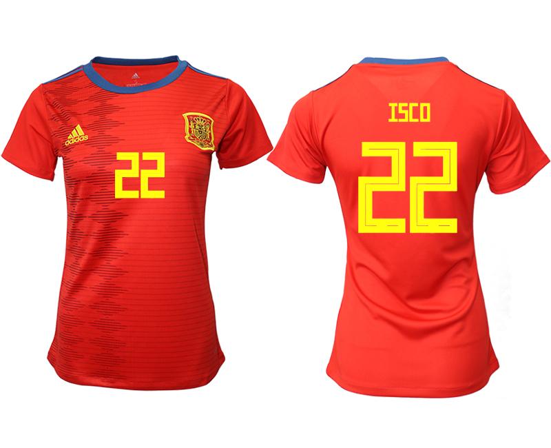 2019-20 Spain 22 ISCO Home Women Soccer Jersey