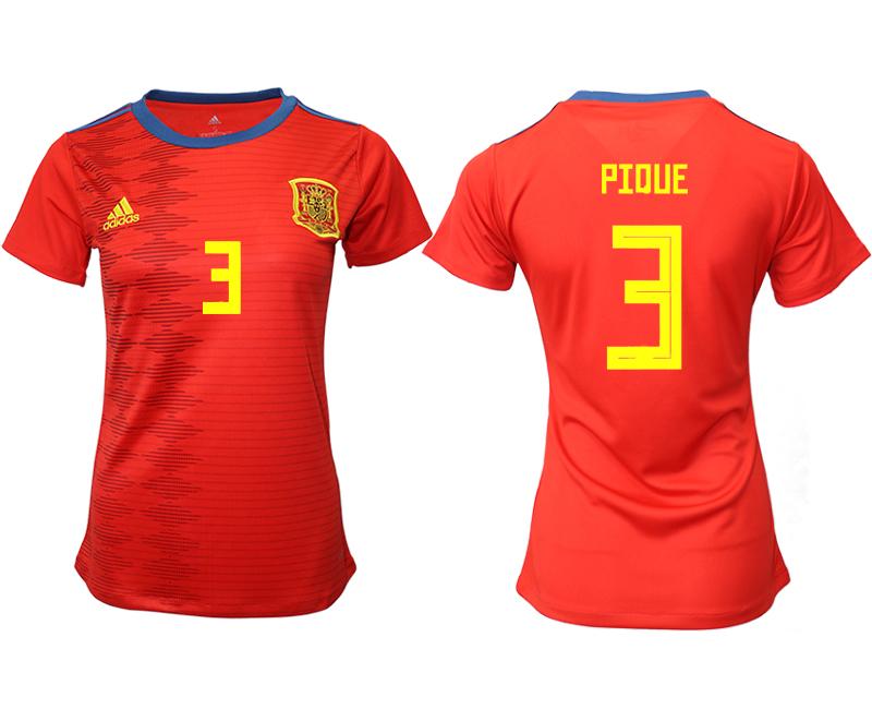 2019-20 Spain 3 PIQUE Home Women Soccer Jersey