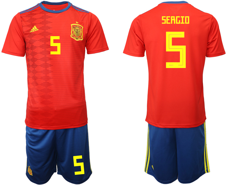 2019-20 Spain 5 SERGIO Home Soccer Jersey