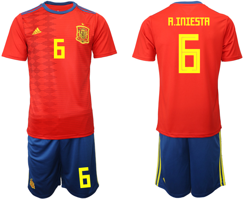 2019-20 Spain 6 A. INIESTA Home Soccer Jersey