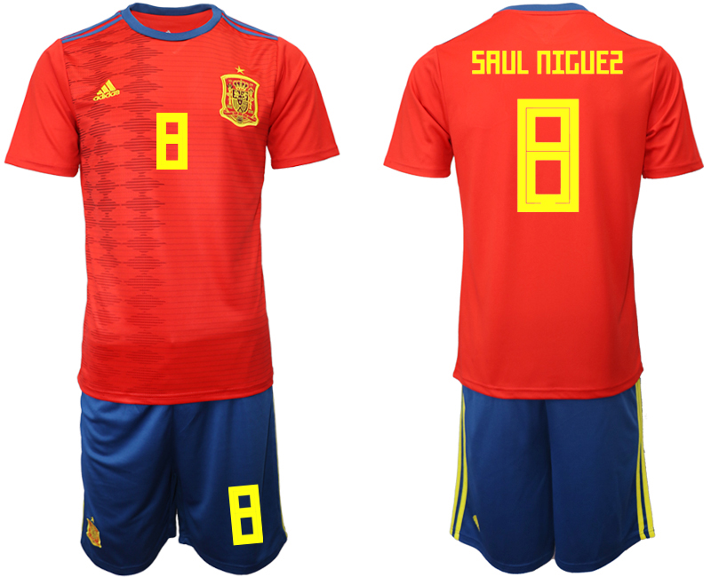 2019-20 Spain 8 SAUL NIGUES Home Soccer Jersey