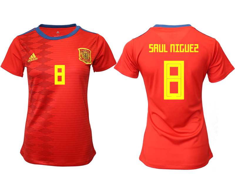 2019-20 Spain 8 SAUL NIGUES Home Women Soccer Jersey