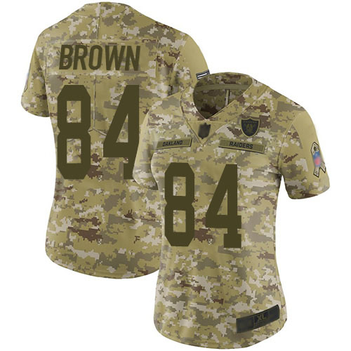 Nike Raiders 84 Antonio Brown Camo Women Salute to Service Limited Jersey