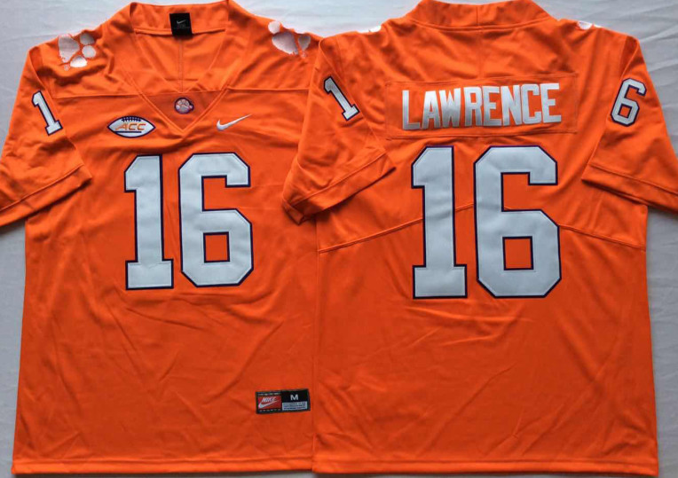 Clemson Tigers 16 Trevor Lawrence Orange Nike College Football Jersey