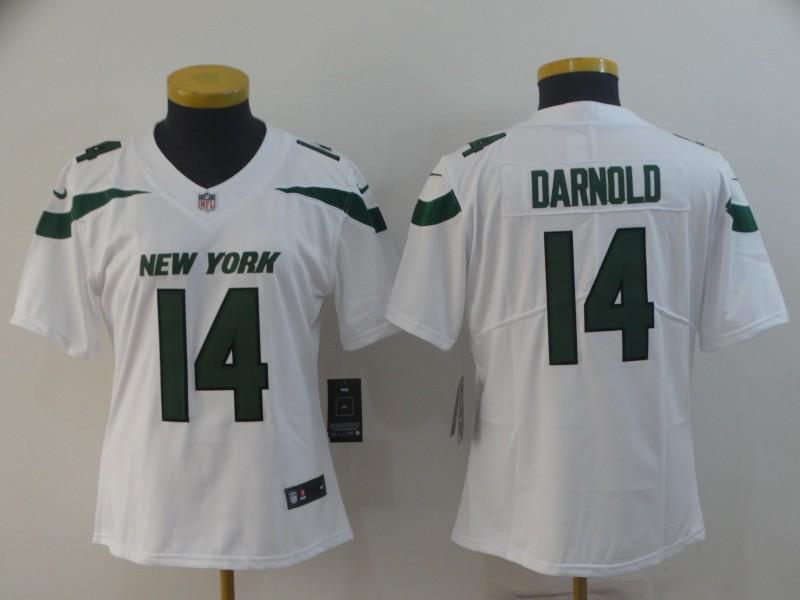 Nike Jets 14 Sam Darnold White Women New 2019 Vapor Untouchable Limited Jersey