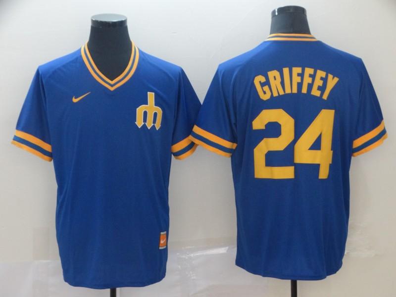 Mariners 24 Ken Griffey Jr. Blue Throwback Jersey