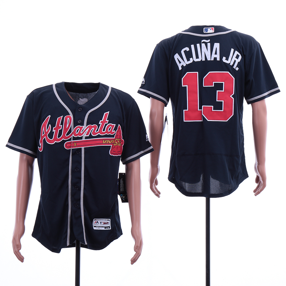 Braves 13 Ronald Acuna Jr. Navy Flexbase Jersey