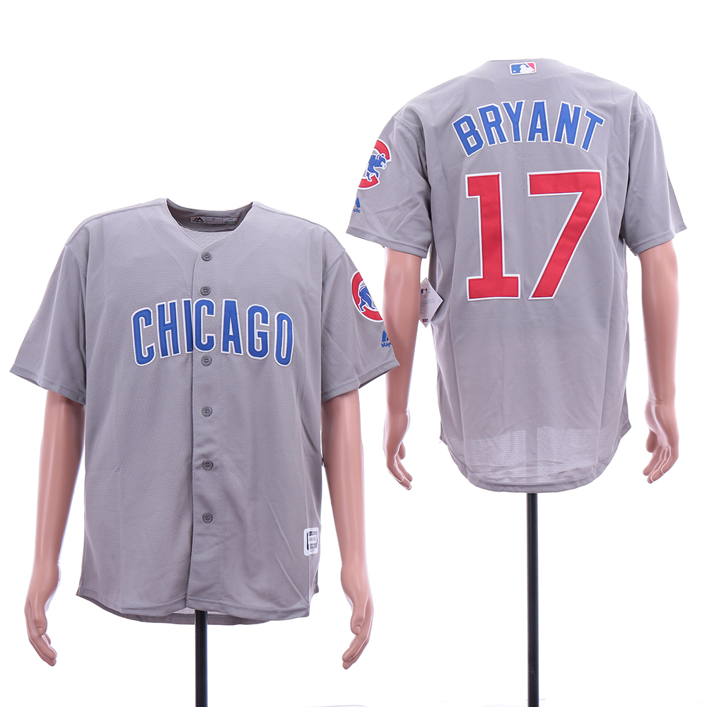 Cubs 17 Kris Bryant Gray Cool Base Jersey