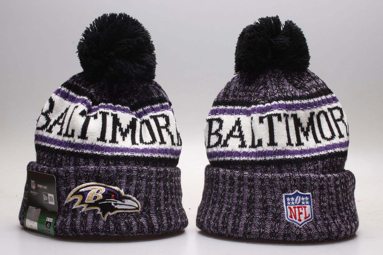 Ravens Team Logo Purple Wordmark Cuffed Pom Knit Hat YP