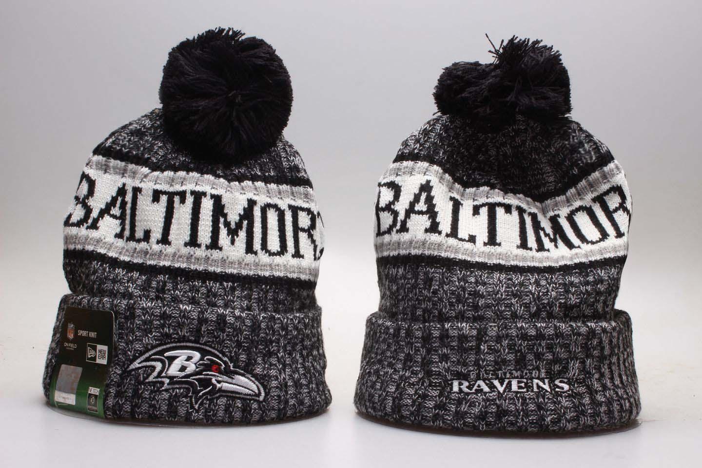 Ravens Team Logo Wordmark Cuffed Pom Knit Hat YP