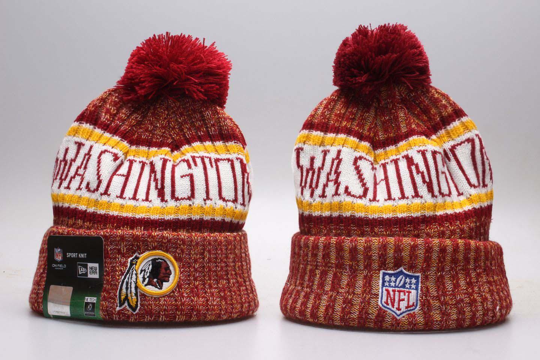 Redskins Fresh Logo Red Pom Knit Hat YP