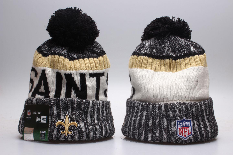 Saints Fresh Logo Gray White Wordmark Cuffed Pom Knit Hat YP