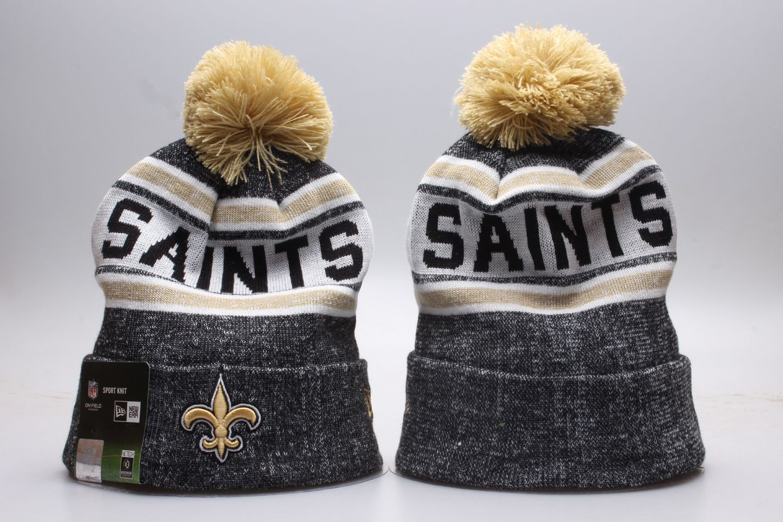Saints Team Logo Gray Wordmark Cuffed Pom Knit Hat YP
