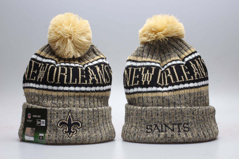Saints Yellow Wordmark Cuffed Pom Knit Hat YP