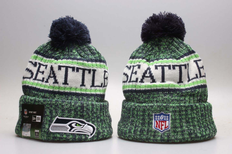 Seahawks Team Logo Green Wordmark Cuffed Pom Knit Hat YP