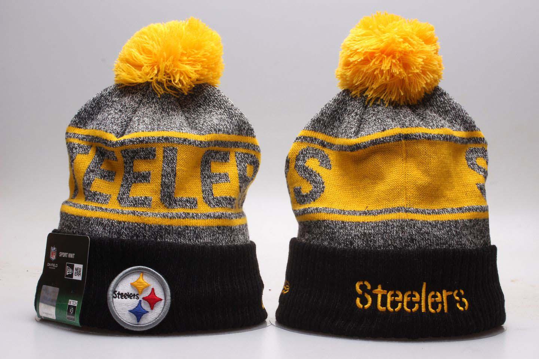 Steelers Fresh Logo Black Pom Knit Hat YP