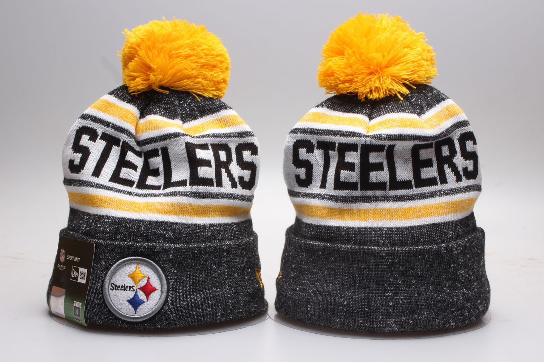 Steelers Fresh Logo Gray Wordmark Cuffed Pom Knit Hat YP