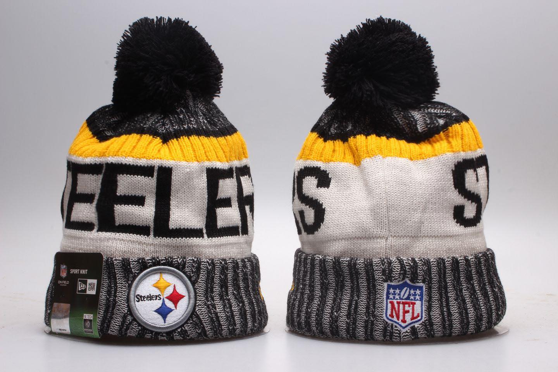 Steelers Fresh Logo Wordmark Cuffed Pom Knit Hat YP