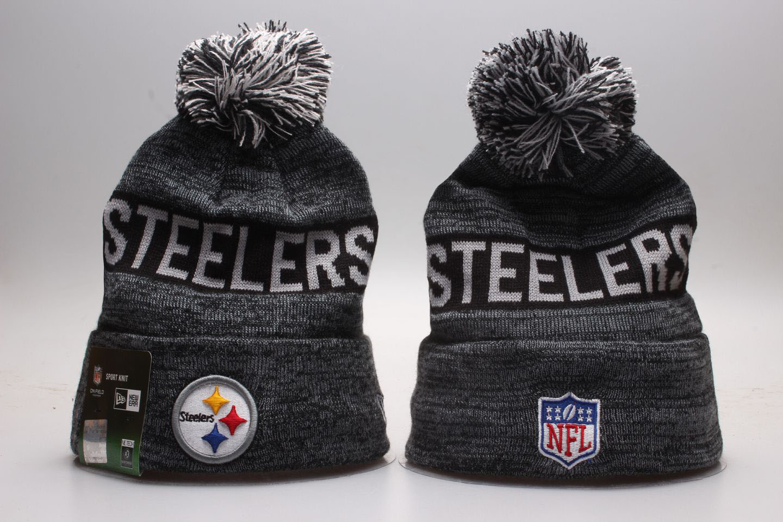Steelers Team Black Wordmark Cuffed Pom Knit Hat YP