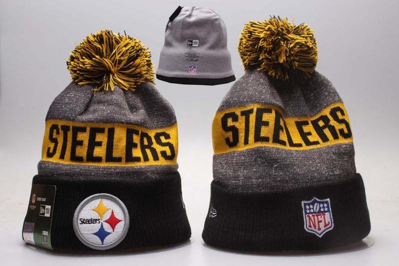 Steelers Team Logo Gray Black Wordmark Cuffed Pom Knit Hat YP