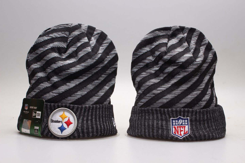 Steelers Team Logo Stripe Cuffed Knit Hat YP