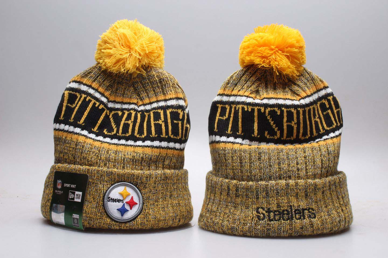 Steelers Team Logo Yellow Wordmark Cuffed Pom Knit Hat YP