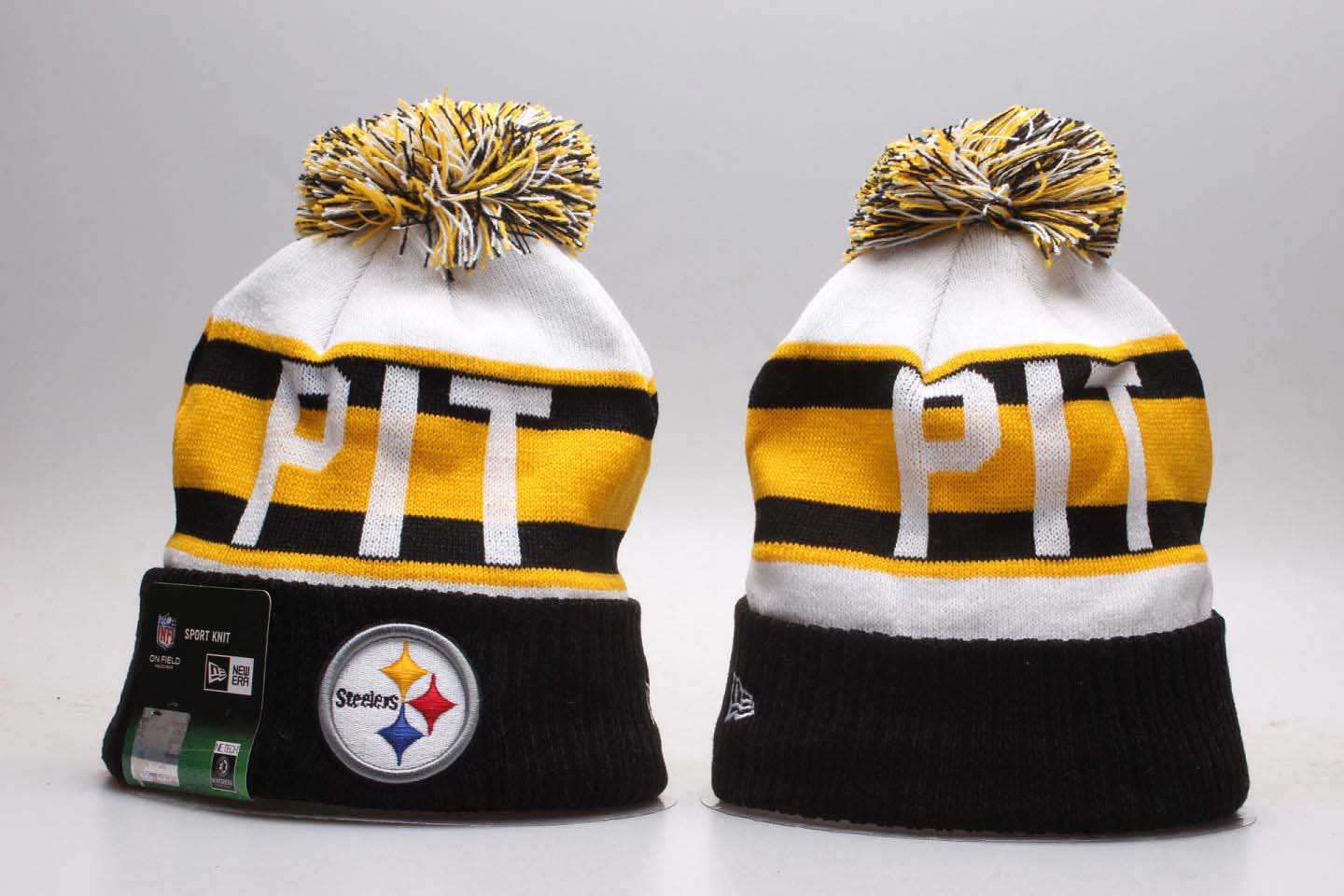 Steelers Team Pride Black White Knit Hat With Pom YP