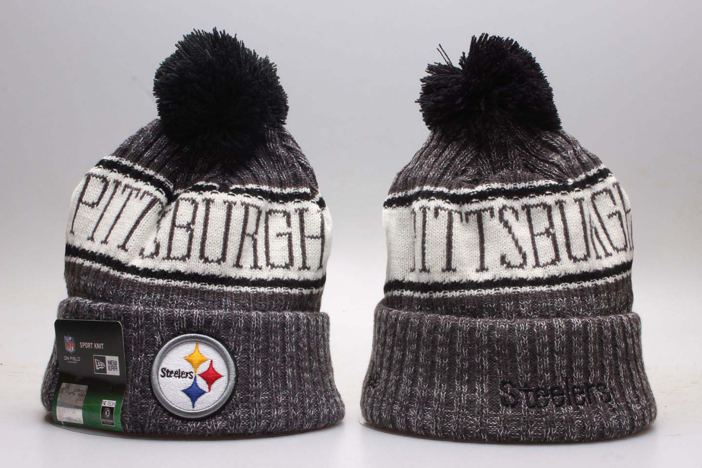 Steelers Team Pride Gray Knit Hat With Pom YP