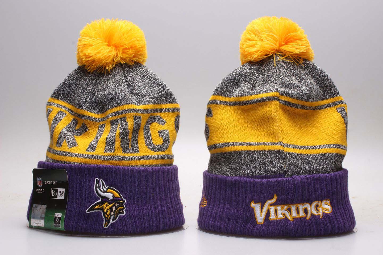 Vikings Fresh Logo Purple Pom Knit Hat YP