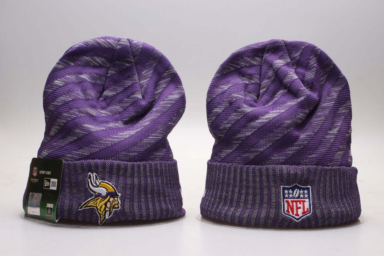 Vikings Team Logo Purple Stripe Cuffed Knit Hat YP
