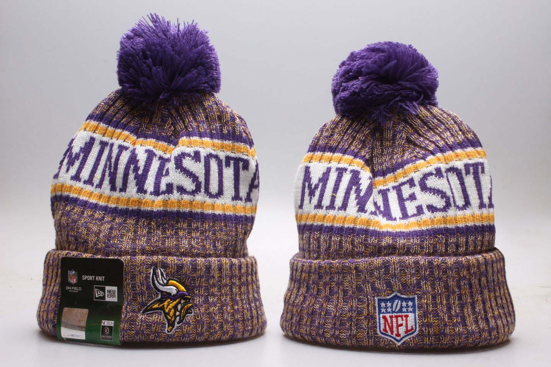 Vikings Team Logo Purple Yellow Wordmark Cuffed Pom Knit Hat YP