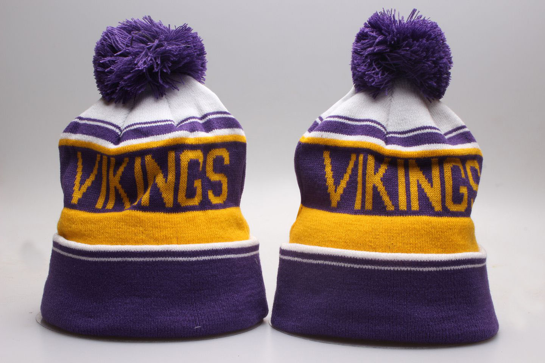 Vikings Team Logo Wordmark Cuffed Pom Knit Hat YP