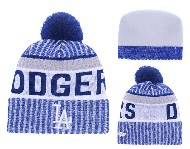 Dodgers Team Logo Royal Cuffed Pom Knit Hat YD